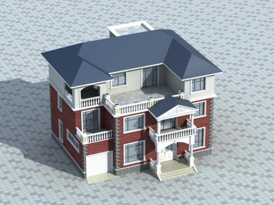 【三层】带车库露台自建别墅设计施工图