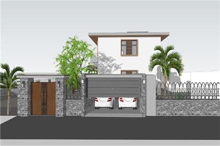 两层现代别墅东立面图