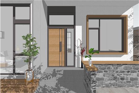 两层现代别墅入户门效果图