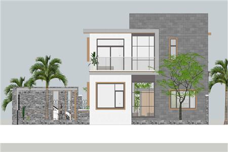 两层现代别墅北立面图