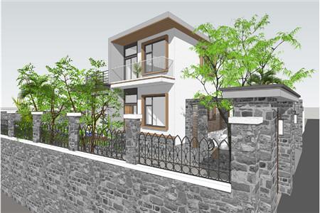 两层现代别墅东南侧效果图
