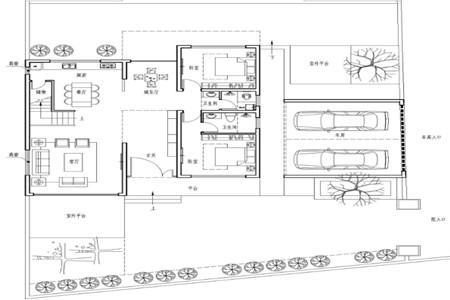两层现代别墅一层平面图