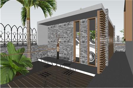 两层现代别墅车库效果图