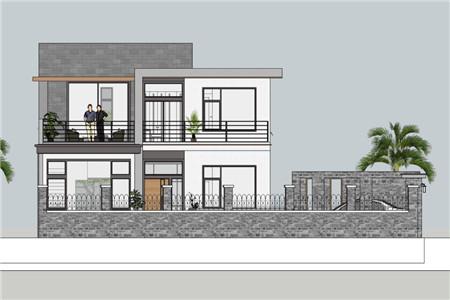 两层现代别墅南立面图
