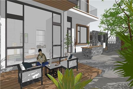 两层现代别墅庭院效果图