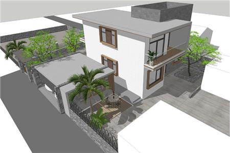 两层现代别墅鸟瞰图