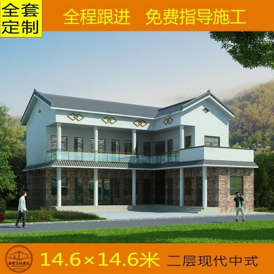 【极简设计】常见农村现代中式别墅图纸 五室二厅 14.6*11.6