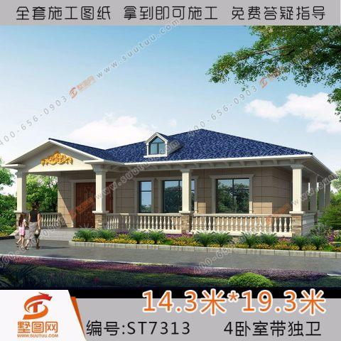 一层新农村自建房设计图休闲别墅养老小洋房施工图7313