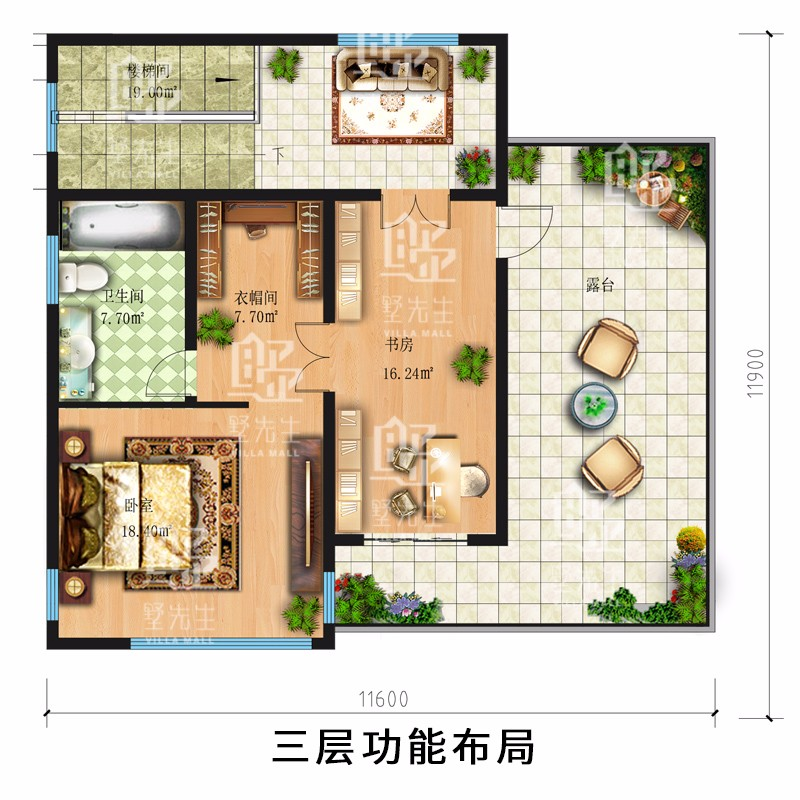 現代三層別墅設計圖平面圖