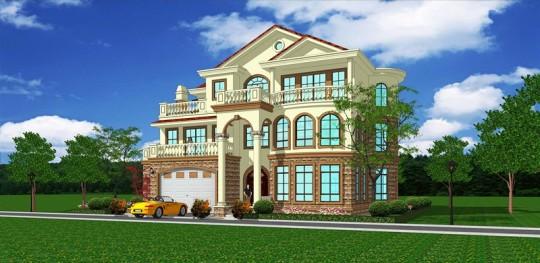 【带车库】三层六室四厅带柴火房欧式框架结构别墅图纸