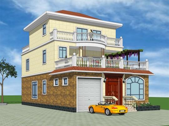 【前后双露台】三层四室三厅田园风格别墅图纸