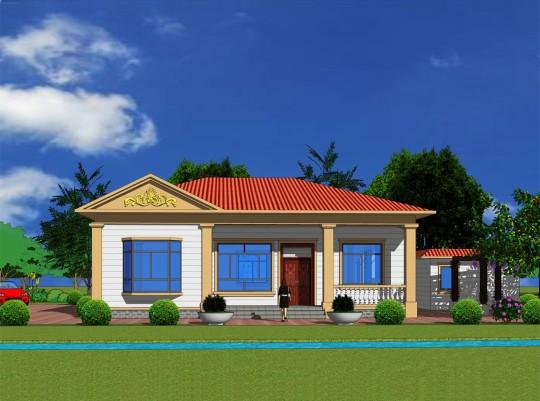 【带附属房】一层四室二厅欧式简单别墅图纸
