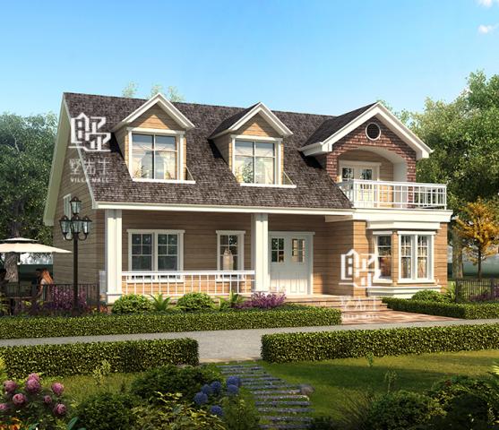占地12x11复式乡村小型美式别墅设计全套施工效果图