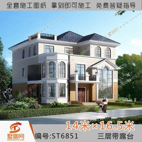 占地14x16简欧式两户套房三层农村自建房别墅