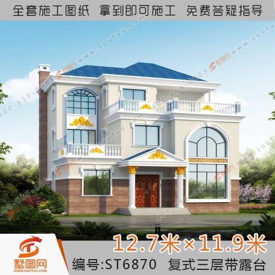 占地13x12三层自建小别墅设计施工图纸