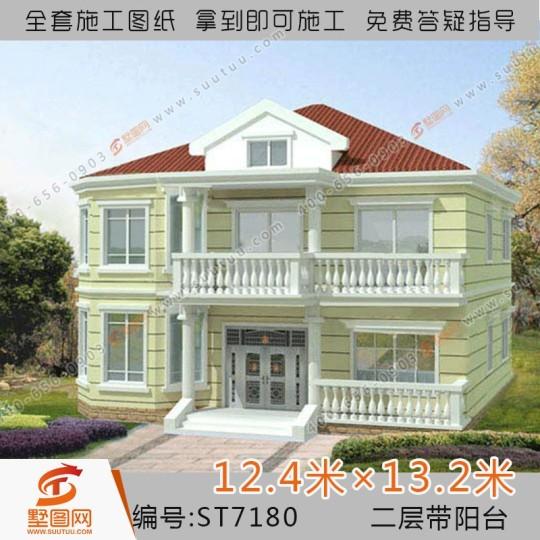 占地12x13三层农村自建带阁楼别墅设计施工图纸