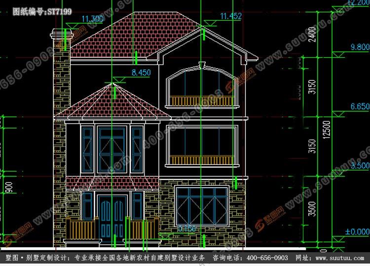 現代三層別墅設計圖施工圖