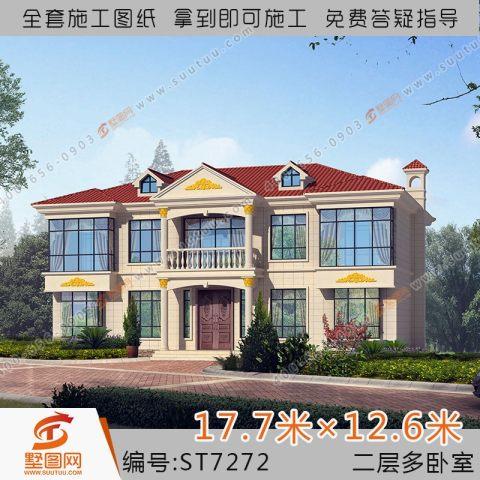 占地18x12两层大气自建别墅设计全套施工图