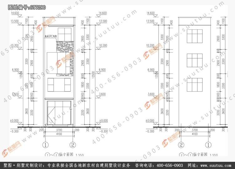 現代四層別墅設計圖施工圖