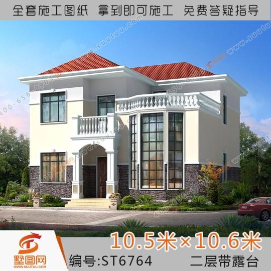 占地11x11两层带露台自建别墅设计全套施工图