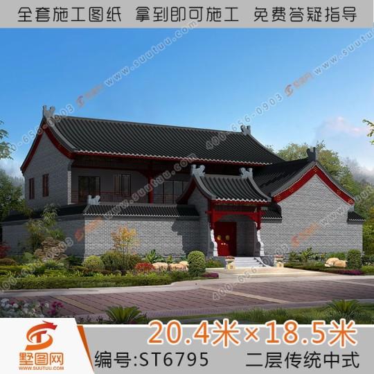 占地20x19兩層傳統中式自建別墅設計全套施工圖