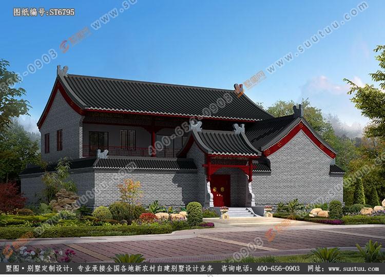 中式二层别墅设计图效果图