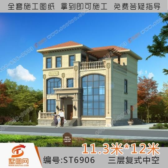 占地11x12三层复式中空自建别墅设计全套施工图