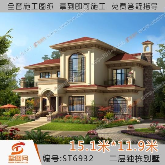 占地15x12两层带阁楼自建别墅设计全套施工图