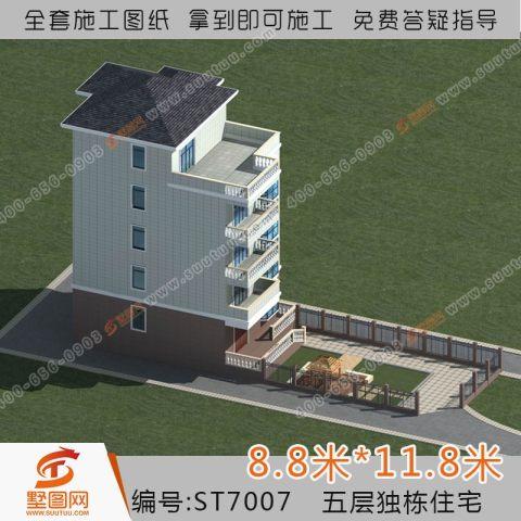 占地9x12五層帶露臺自建別墅設計全套施工圖