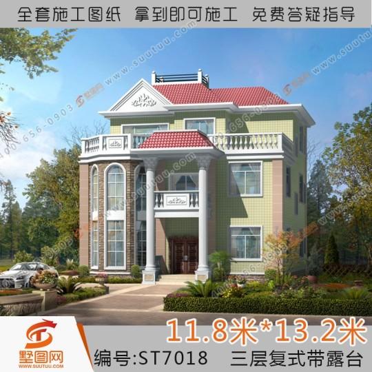 占地12x13三层复式带露台自建别墅设计全套施工图