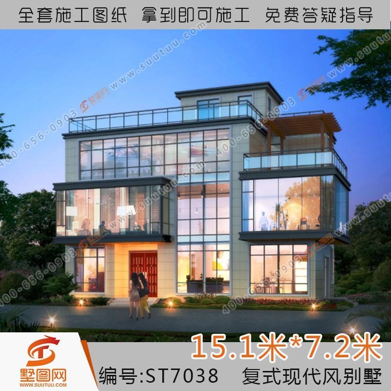 占地15x7三层复式自建别墅设计全套施工图