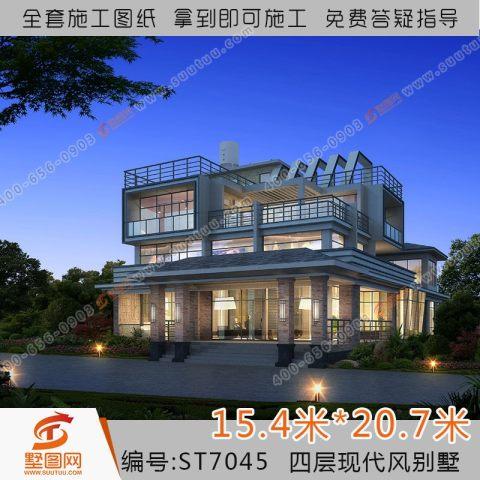 占地15x21四层带露台自建别墅设计全套施工图