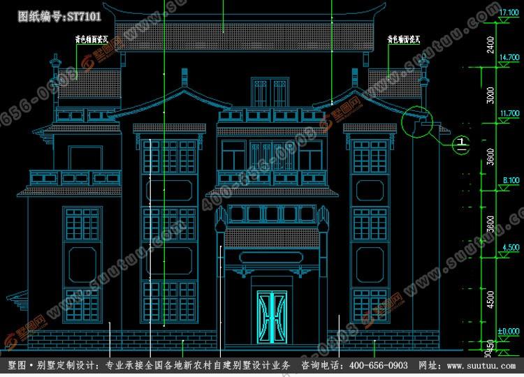 中式四层别墅设计图施工图