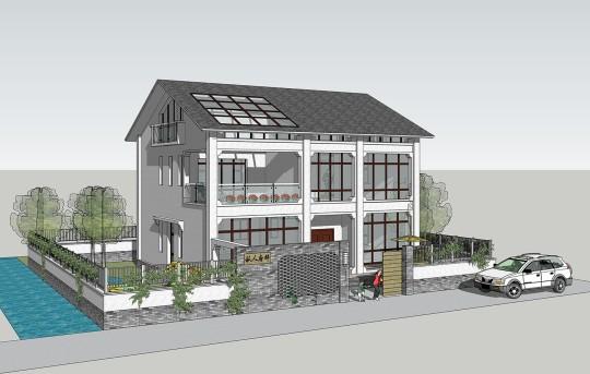 占地13x11三層帶庭院自建別墅設計全套施工圖