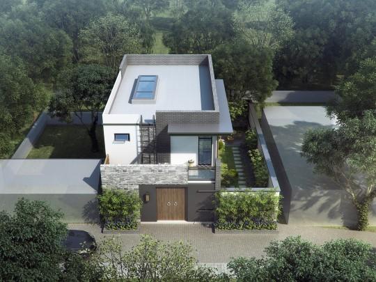 占地12x5二層帶庭院自建別墅設計全套施工圖