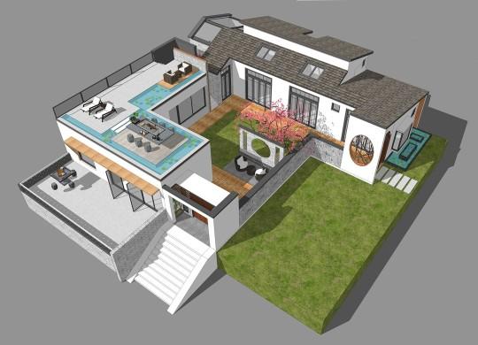 占地17x17二层带庭院自建别墅设计全套施工图