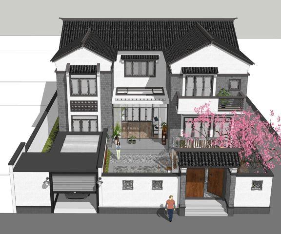 占地14x14二层带庭院车库自建别墅设计全套施工图
