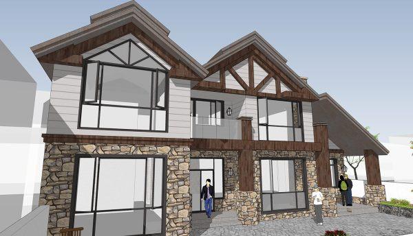 占地17x12二层带庭院自建别墅设计全套施工图
