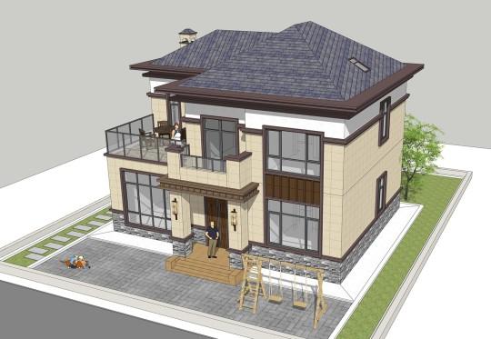 占地12x10二层带露台自建别墅设计全套施工图