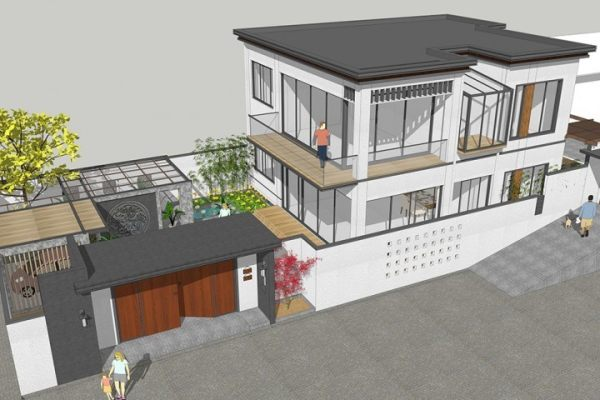 占地25x12二层带庭院自建别墅设计全套施工图