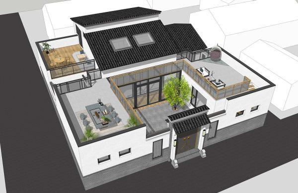 占地16x16二层带露台庭院自建别墅设计全套施工图