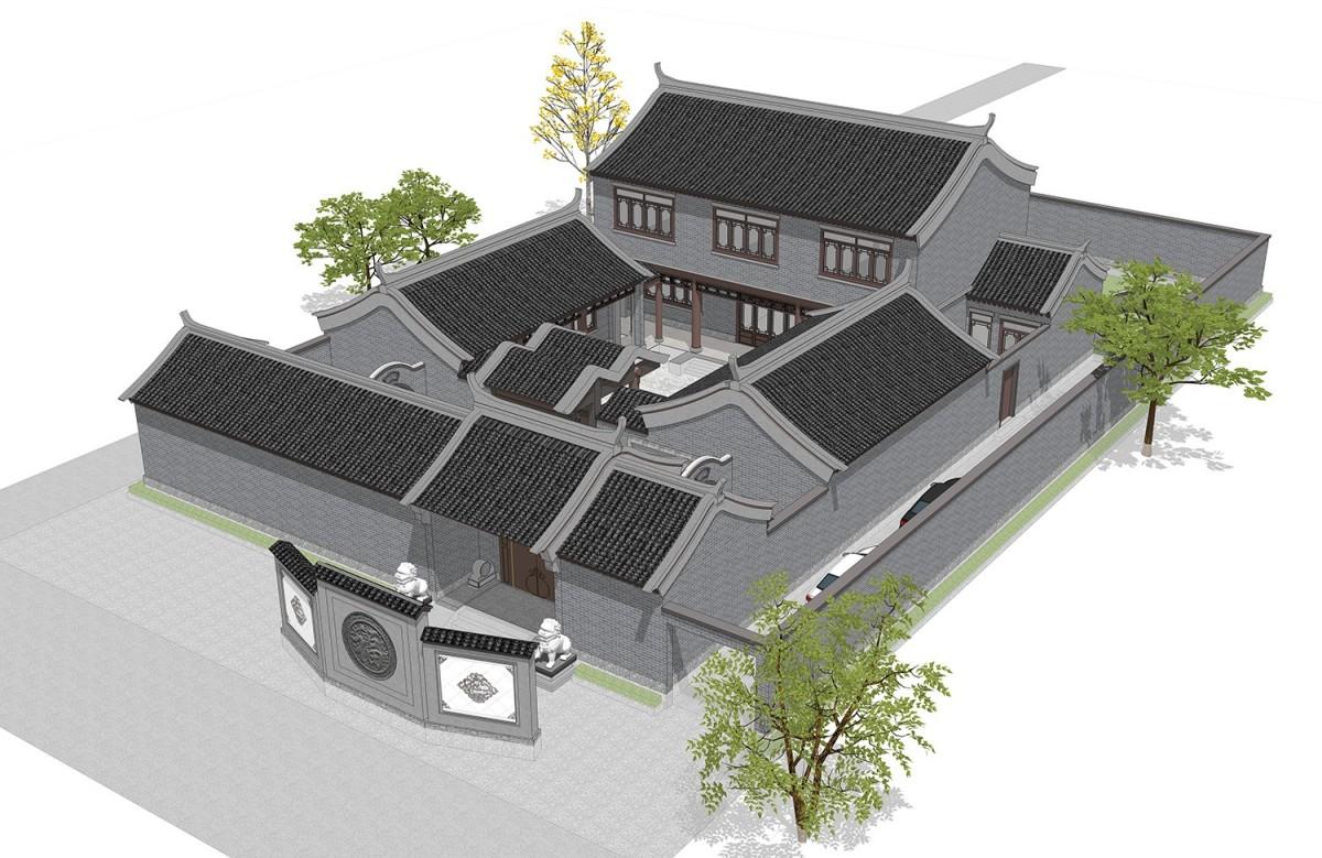 占地20x28二层自建四合院设计全套施工图