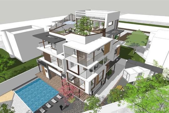 占地12x11四层屋顶露台自建别墅设计全套施工图