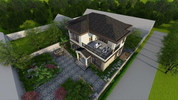 占地14x12二层带露台自建别墅设计全套施工图