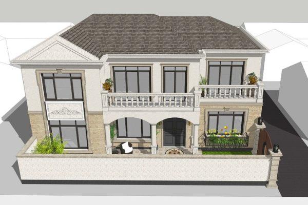 占地15x11二层带庭院自建别墅设计全套施工图
