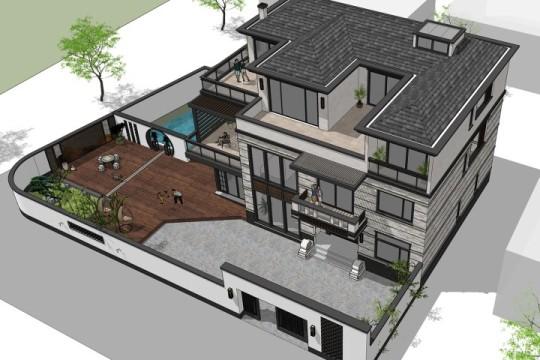 占地17x13三层带庭院露台自建别墅设计全套施工图