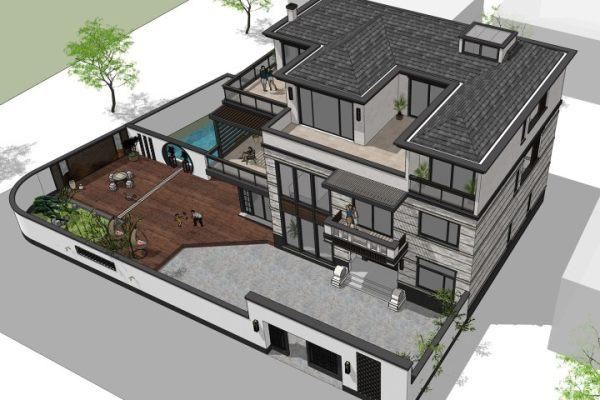 占地17x13三層帶庭院露臺自建別墅設計全套施工圖