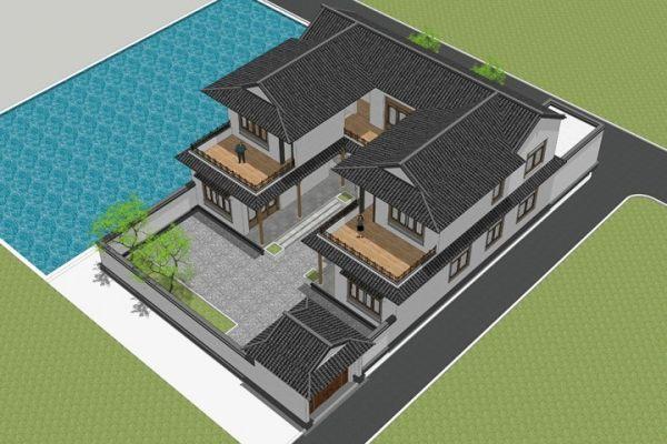 占地16x22二层带庭院自建别墅设计全套施工图