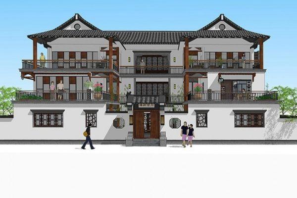 占地21x17三层带庭院自建别墅设计全套施工图