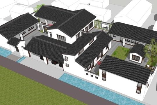 占地22x44一层带庭院车库自建院落别墅设计全套施工图